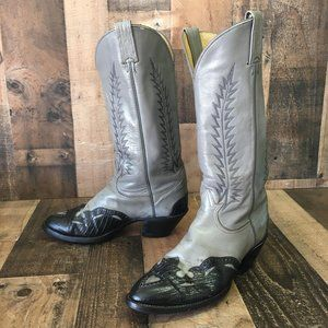 Tony Lama Vtg Gold Label Teju Toe Cowboy Boot 8.5d